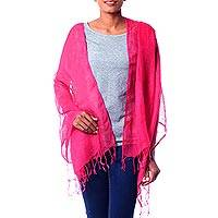 Linen shawl, 'Sheer Hot Pink' - Handcrafted Linen Shawl Wrap from India