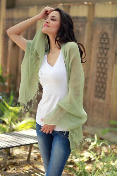 Linen shawl, 'Sheer Moss Green' - Linen shawl