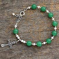 Pearl and aventurine link bracelet, 'Jaipur Fortunes' - Aventurine and Pearl Bracelet with Sterling Silver Cross