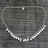 Pearl pendant necklace, 'Joranda Waterfall' - Pearl pendant necklace