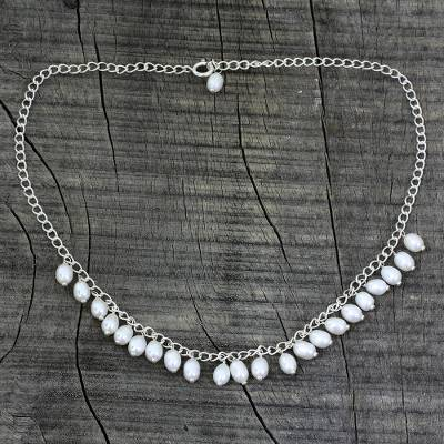 Pearl pendant necklace, 'Joranda Waterfall' - Pearl pendant necklace