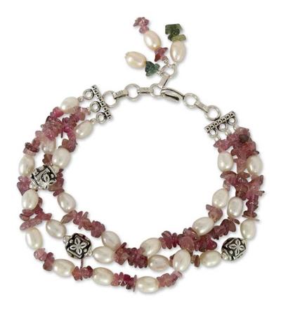 Pearl and tourmaline torsade bracelet, 'Bihar Rose' - Tourmaline and Pearl Beaded Bracelet