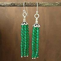 Sterling silver dangle earrings, 'Chimes' - Unique Onyx and Silver Beaded Earrings