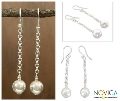 Sterling silver dangle earrings, 'Delhi Moon' - Sterling Silver Artisan Crafted Earrings from India