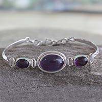 Amethyst link bracelet, 'Delhi Crown'