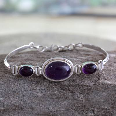 Amethyst link bracelet, 'Delhi Crown' - Amethyst link bracelet