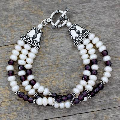 Pearl and garnet wristband bracelet, 'Pure Love' - Pearl and garnet wristband bracelet