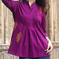 Cotton blouse, 'Wine Delight' - Paisley Cotton Embroidered Blouse Top from India