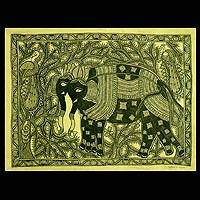 Madhubani painting, 'Elephant March' - Madhubani painting