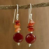 Carnelian dangle earrings, 'Radiant Sunset'