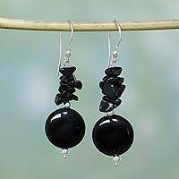 Onyx dangle earrings, 'Midnight Charm' - Onyx dangle earrings
