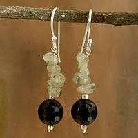 Onyx and aventurine dangle earrings, 'Dance in the Mist' - Onyx and aventurine dangle earrings