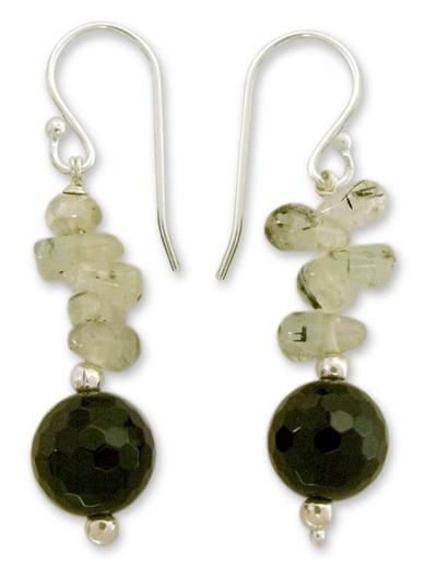 Onyx and aventurine dangle earrings