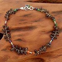 Smoky quartz anklet, 'Misty Magic' - Smoky quartz anklet