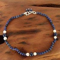 Lapis lazuli and pearl beaded anklet, 'Mystic Truth'