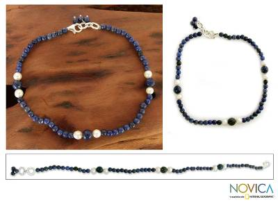 Lapis lazuli and pearl beaded anklet, 'Mystic Truth' - Lapis lazuli and pearl beaded anklet