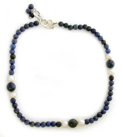 Unique Lapis lazuli and Pearl Beaded Anklet