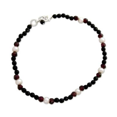 Onyx and garnet beaded anklet