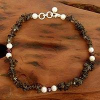 Smoky quartz and pearl beaded anklet, 'Love Empowered' - Smoky quartz and pearl beaded anklet