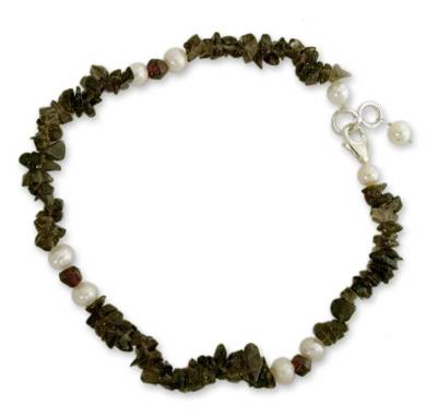 Smoky quartz and pearl beaded anklet