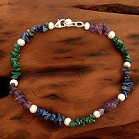 Pearl and amethyst beaded anklet, 'Mystic Meadow'