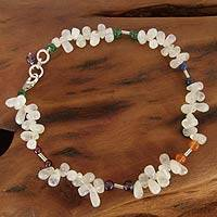 Rainbow moonstone and carnelian beaded anklet, 'Festive Jaipur' - Rainbow Moonstone and carnelian beaded anklet