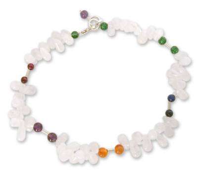 Rainbow Moonstone and carnelian beaded anklet
