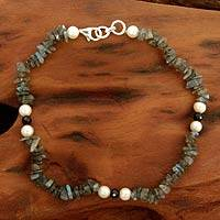 Labradorite and pearl beaded anklet, 'Mumbai Fantasy' - Unique Indian Labradorite, Pearl, and Onyx Beaded Anklet