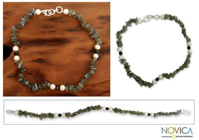 Labradorite and pearl beaded anklet, 'Mumbai Fantasy' - Labradorite and pearl beaded anklet