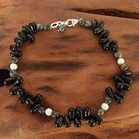 Onyx and pearl beaded anklet, 'Mumbai Muse' - Onyx and pearl beaded anklet