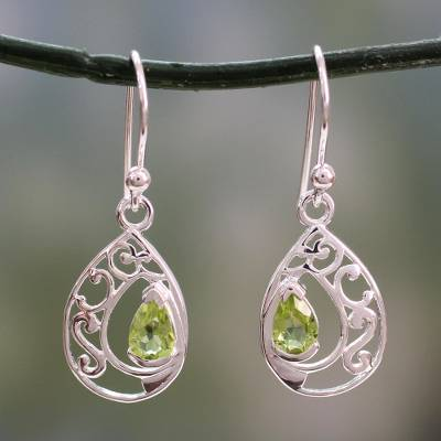 Peridot dangle earrings, 'Lace Halo' - Peridot Birthstone Jewelry in Sterling Silver Earrings