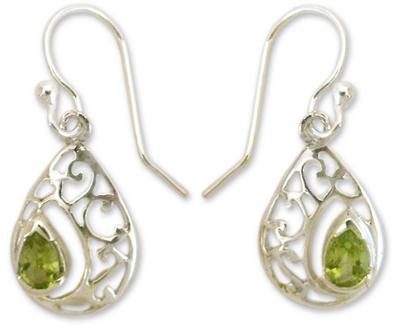 Peridot Birthstone Jewelry in Sterling Silver Earrings