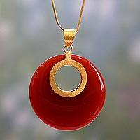 Gold vermeil pendant necklace, 'Skylight' - Handmade Modern Jewelry Vermeil and Onyx Necklace