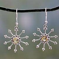 Citrine dangle earrings, 'Sunshine Daze' - Sterling Silver jewellery Earrings with Citrine
