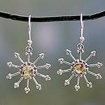 Sterling Silver Dangle Earrings with Citrine, 'Sunshine Daze'