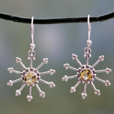Citrine dangle earrings, 'Sunshine Daze' - Sterling Silver jewellery Earrings with Citrine