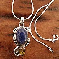 Lapis and citrine pendant necklace, 'Royal Charm'