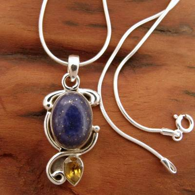 Lapis and citrine pendant necklace, 'Royal Charm' - Indian Necklace with Lapis Citrine and Sterling Silver