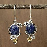 Lapis and citrine dangle earrings, 'Royal Charm' - Indian Earrings with Lapis Citrine and Sterling Silver