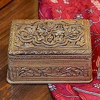 Walnut wood jewelry box, 'Spring Flowers' - Hand Carved Wood Jewelry Box