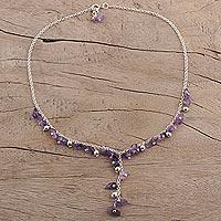 Amethyst Y necklace, 'Jaipur Princess'