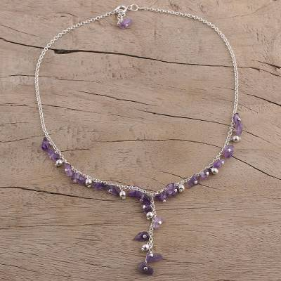 Amethyst Y necklace, 'Jaipur Princess' - Hand Crafted Amethyst Y Necklace