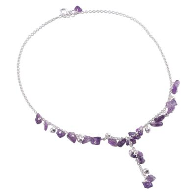 Amethyst Y necklace, 'Jaipur Princess' - Hand Crafted Amethyst Y Necklace