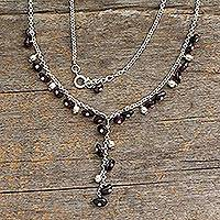 Garnet Y necklace, 'Jaipur Princess' - Hand Made Garnet Y Necklace from India