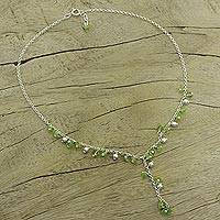 Peridot Y necklace, 'Jaipur Princess' - Women's Sterling Silver Beaded Peridot Necklace