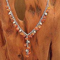 Carnelian Y necklace, 'Jaipur Princess' - Carnelian Y necklace