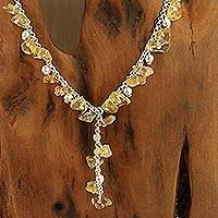 Citrine Y necklace, 'Jaipur Princess' - Citrine Y necklace