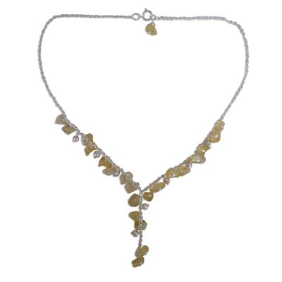 Citrine Y necklace