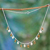 Pearl and citrine pendant necklace,