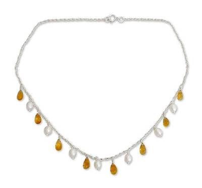 Pearl and citrine pendant necklace, 'Mumbai Sun' - Women's Sterling Silver Pearls and Carnelian Necklace